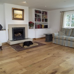 Character Grade English Oak mixed width flooring, 135, 160, 210, widths with a Lacquered Finish