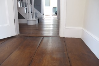 Wide English Oak Footworn with a dark stain and a Satin Oil Finish